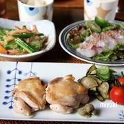 塩鶏の蒸し焼き と 真鯛でおさしみサラダ。