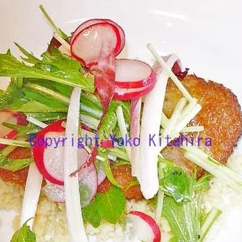 おもてなしレシピ~イベリコ豚のミラノ風コトレッタ、サラダとクスクス添え R#81