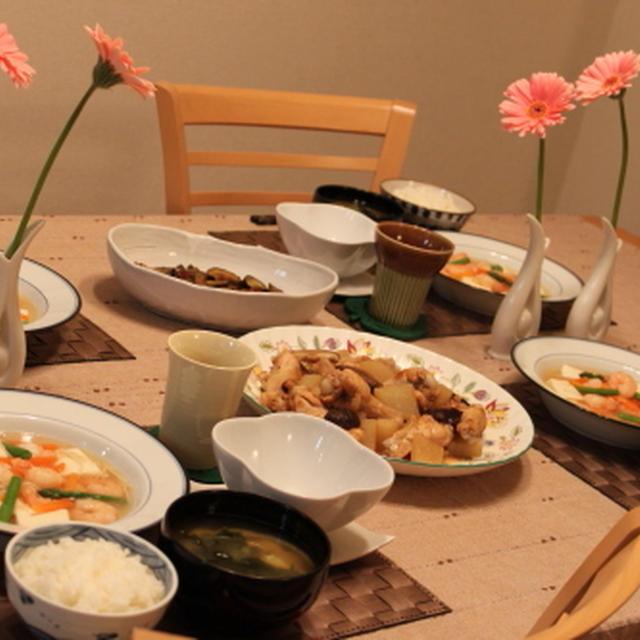 えびと豆腐のあんかけ&手羽元と大根のスープ煮♪