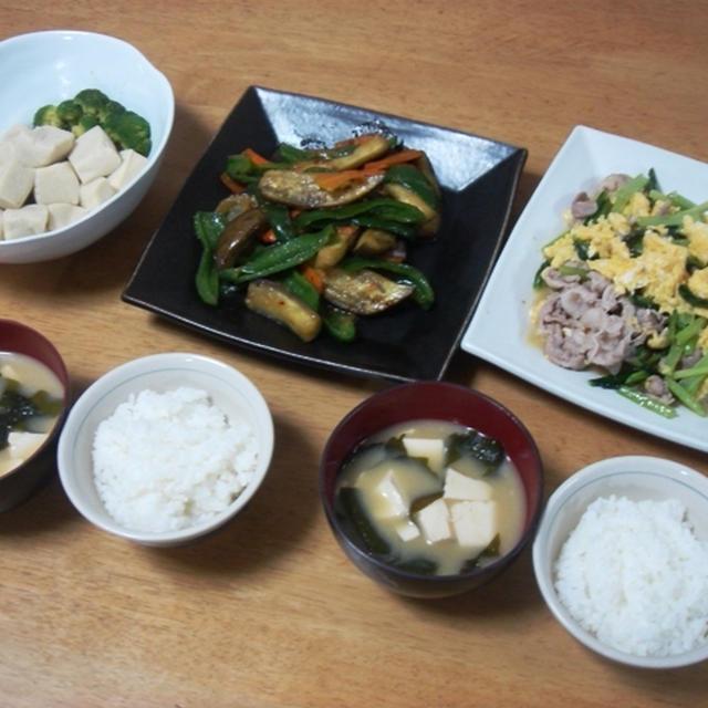 昨夜は小松菜と豚肉と卵の中華炒めなど~