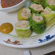 ハンブレで簡単〜お肉ちょっとでふっくら食感!白菜づくし焼売。