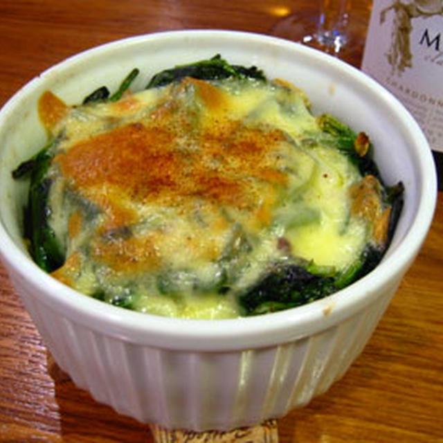 ジャガイモとほうれん草のチーズグラタン