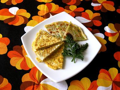 卵付きの葱油餅。