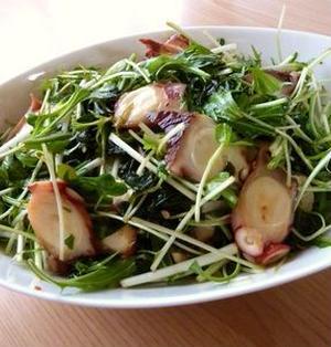 タコの水菜とわかめのサラダ♪中華風味♪