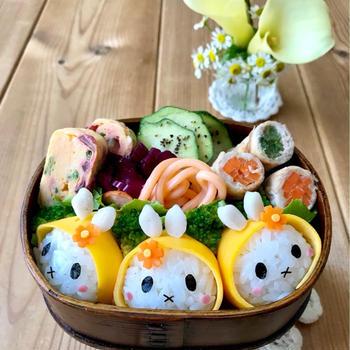 《キャラ弁》ミッフィーの梅雨のお弁当♡作り方♡モニター色々♡ekoちゃんからの素敵便