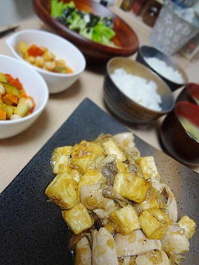 6/12の晩御飯 塩こうじ鶏と豆腐の花椒炒め