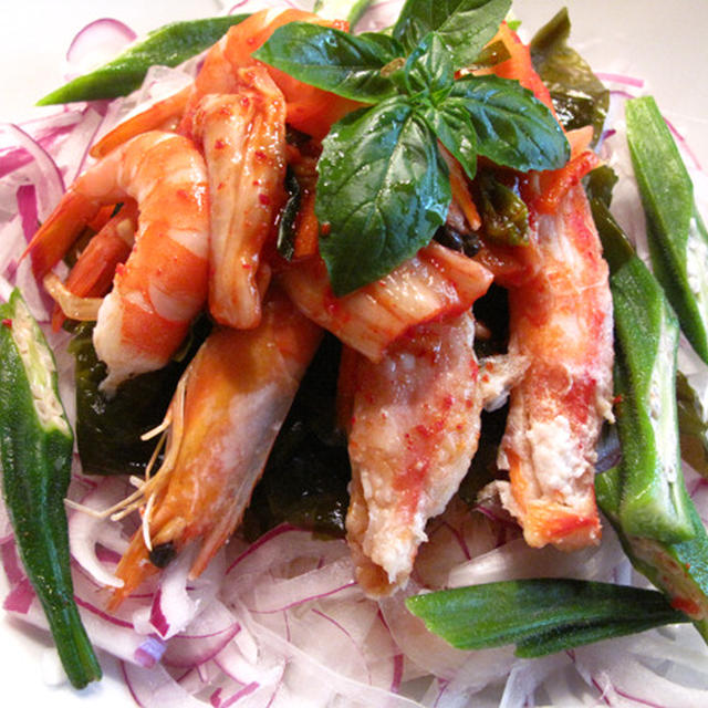 お野菜いっぱい海老と蟹のキムチダレ素麺