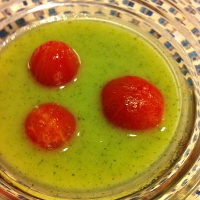 キュウリとトマトの水玉スープ/長芋春巻き