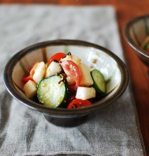 夏野菜の即席塩昆布マリネ