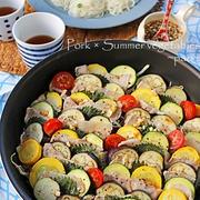 ダイエット中にもおすすめ♪夏野菜と豚肉のヘルシーフライパン重ね蒸し!