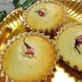 桜と白花豆のカップケーキ