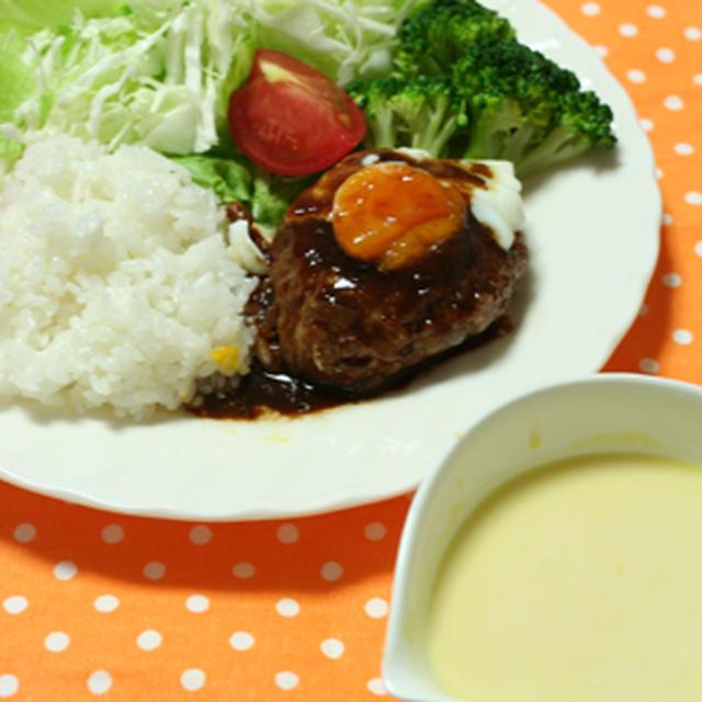 肉汁じゅわー♪なハンバーグプレートと、ゼロ活力なべでシュシュっとかぼちゃスープでうちごはん