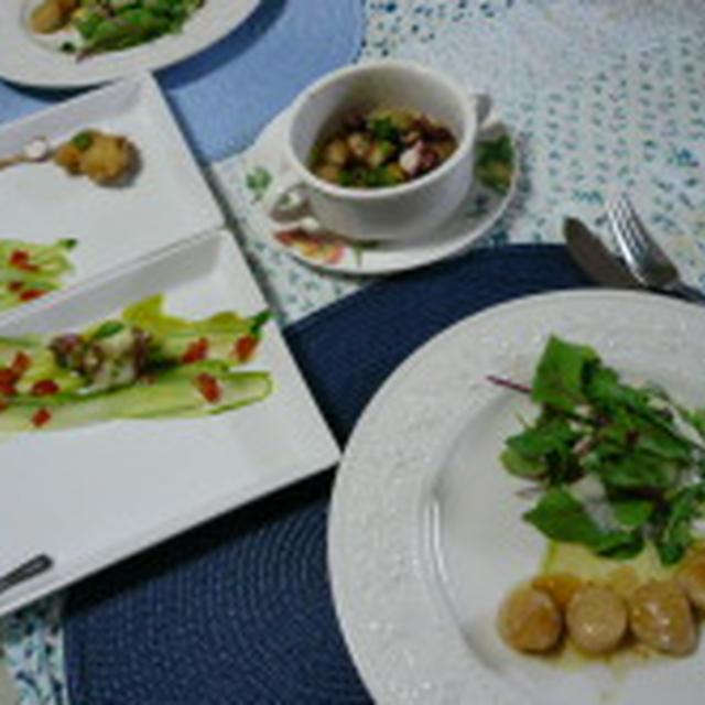 3つのタコ料理とホタテ