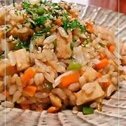 高野豆腐ともやしのソース炒飯