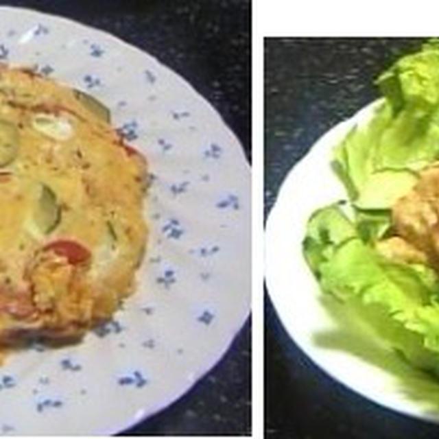 ズーッキーニのチーズオムレツ、アボカドの明太マヨ、蒸しナス 他