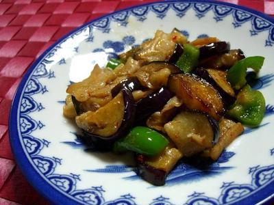茄子と苦味野菜のピリ辛黒酢炒め