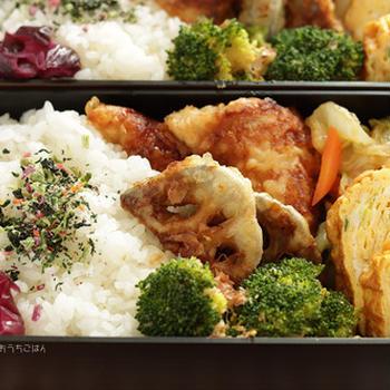 ささみの天ぷらと蓮根の天ぷら、ネギ入り玉子焼き~食べざかり中学生のお弁当*うなぎのタレ活用レシピも!