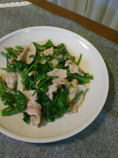 空心菜と豚肉の炒めもの