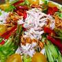 夏野菜たっぷり!ヘルシー棒棒鶏、タレも簡単♪