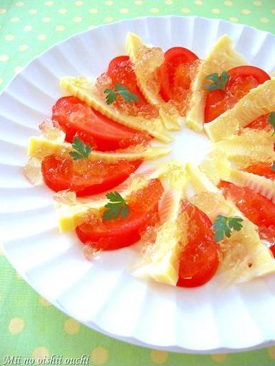 筍とトマトの彩りカルパッチョ♪柚子胡椒ジュレのせ