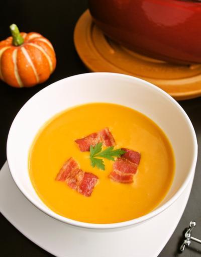 かぼちゃのポタージュ~カリカリベーコン添え
