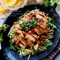照焼き鶏モモ肉&ニンニクたっぷり豆苗と水菜のサッと炒め