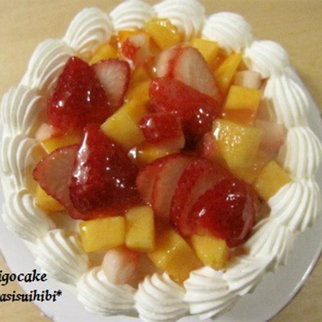 柿といちごのケーキ