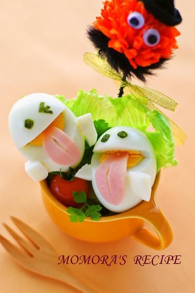 ゆで玉子で簡単ハロウィンやイースター♪キュートなオバケちゃん♡キャラ弁にも