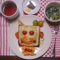 今日の一言。 #リプトン #紅茶 #朝食 #リプトンひらめき朝食 #福笑い #トースト #朝ご飯