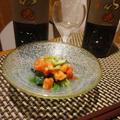 ほうれん草とトマトのサラダ、牡蠣とカボチャのスパイシースープ、青森鱒の塩焼き、牡蠣とトマトのご飯