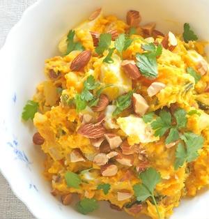 ごろごろ食感でボリュームアップ!かぼちゃとゆで卵とアーモンドのサラダ。