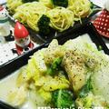 タイム香る!鶏肉と白菜のクリーム煮♪~バジルスパゲティ添え~ by ぺるしゃんさん