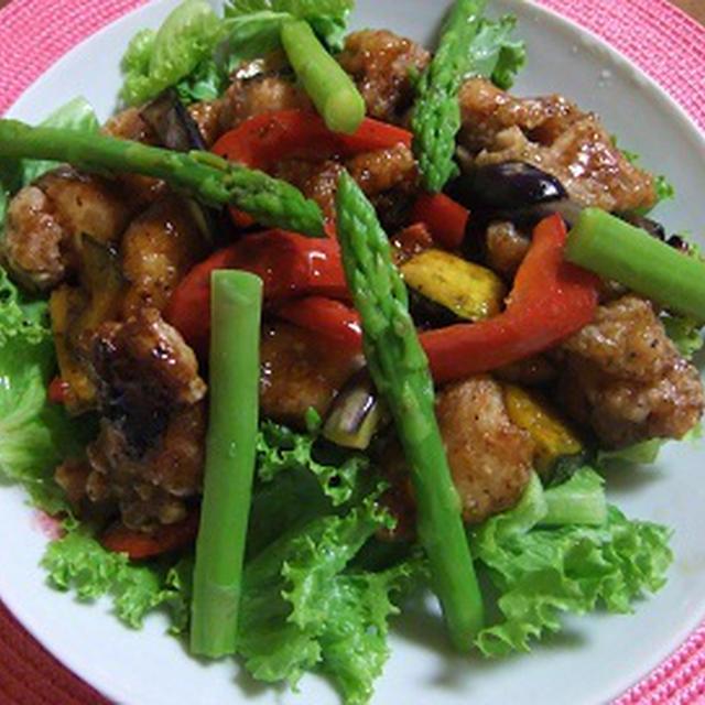 鶏の唐揚げ&素揚げ野菜のマリネ
