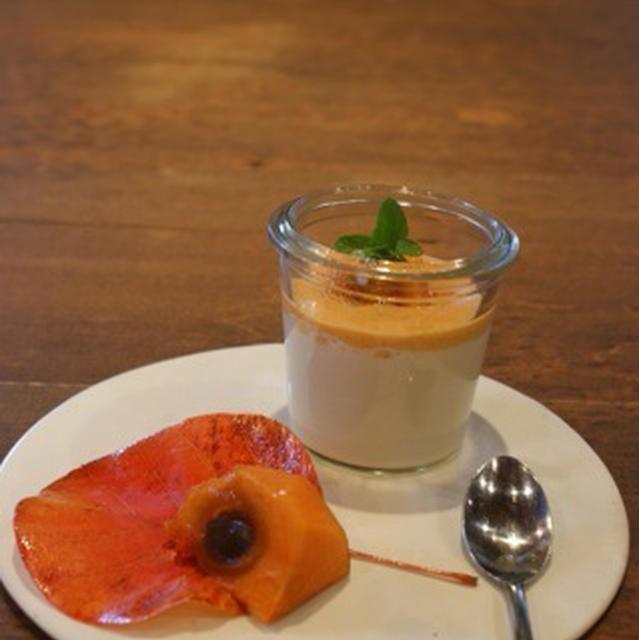 寒天パンナコッタ 柿のソース