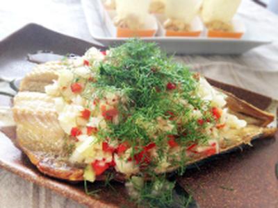 お魚干物のハーブ&ライムソース