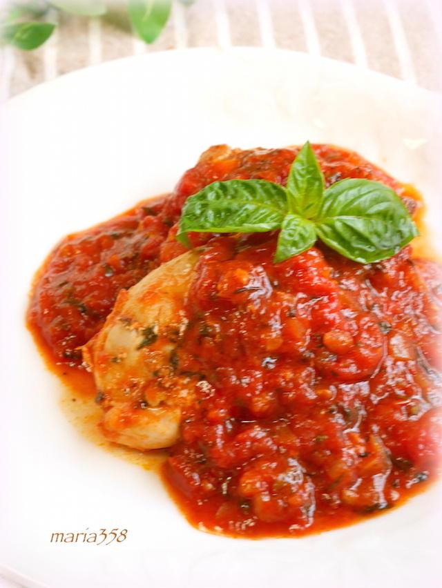鶏肉のハーブトマト煮込み