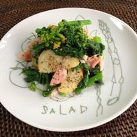 菜の花、新ジャガ、鮭のデリ風サラダ