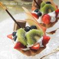 レトロゼリー用のカップで作る♪ヘルシー♪バニラ&シナモンの香りづくめの豆乳フルーツパフェ