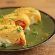 麺つゆで♪トマトとクリームチーズの洋風卵焼き