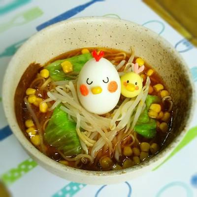 日清ラ王袋麺で簡単♡子供も喜ぶニワトリ親子の醤油ラーメン♪♪