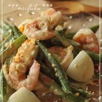 味噌が美味しい♪海老といんげんのゆで卵サラダ