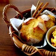 南瓜の小さい田舎パンとサラダ&にゃ♪
