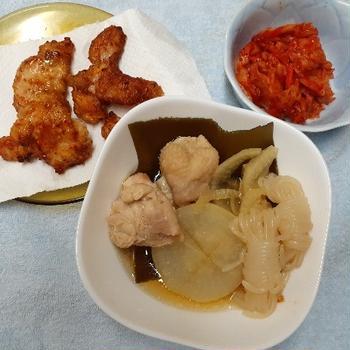 タカラ「料理のための清酒」で柔らかくした鶏肉の大根の煮物と唐揚げ