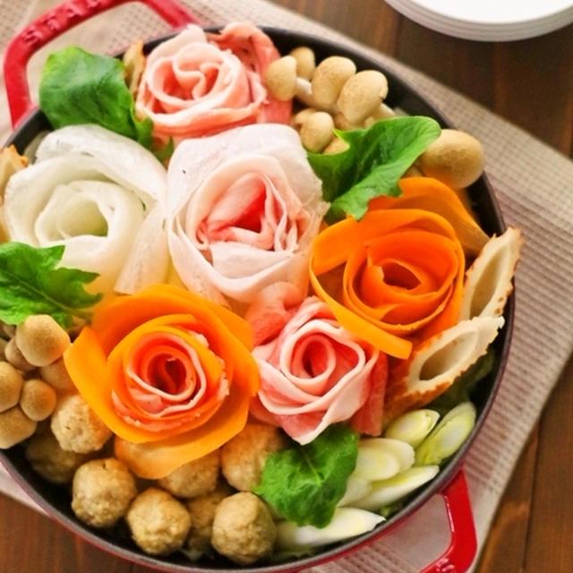 簡単節約華やか♡豚肉を挟んだ大根とニンジンと白菜のバラ鍋♪クリスマスやお正月にも&クックパッドの大人気お菓子108Part2殿堂入レシピ掲載頂いています