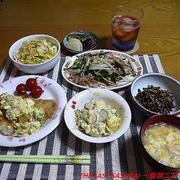 【夕食】かれいのムニエル・豚肉ともやしの炒め物・ぜんまいナムル…