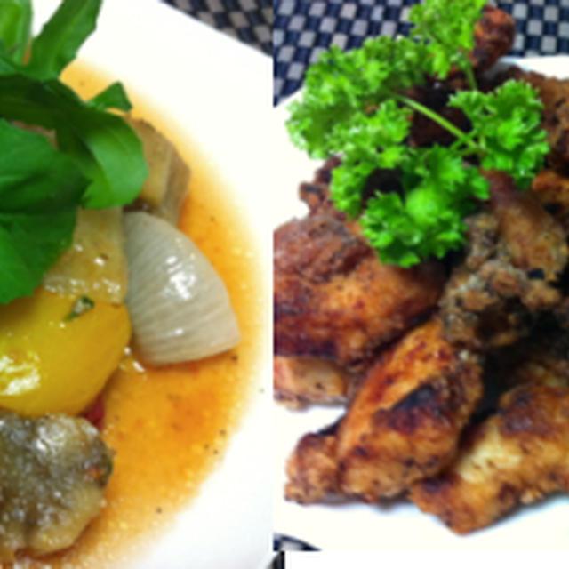 焼き野菜のマリネ、鶏胸肉の塩麹竜田、舞茸の肉巻きとナスの生姜焼き他