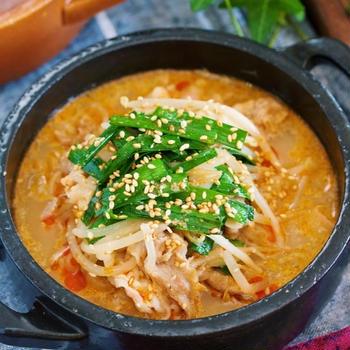 豚バラもやしの坦々風♡ごま味噌スープ煮【#簡単 #包丁いらず #練りごま不要 #主菜 #おかずスープ】