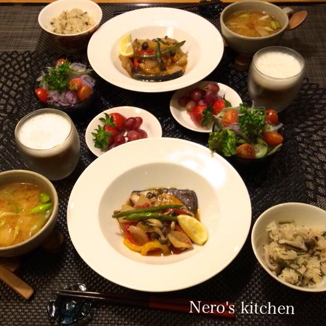 野菜たっぷり変わりぶり大根・きのこご飯・長芋と長ネギの味噌スープ♪