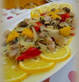 チキンと彩り野菜のチーズレモンマリネ