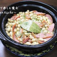 5分で出来る煮込み★大豆の水煮缶で、大豆とソーセージの煮込み★サンドイッチやパスタに